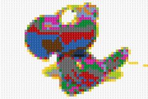 Mit der iPhone APP LEGO Photo fotografierter und durch die APP bearbeiteter Vogel.