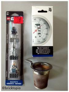 Wir brauchen: ein Bratenthermometer, ein Teesieb aus Metall und natürlich Mini-Figuren aus einem LEGO Magnet-Set.