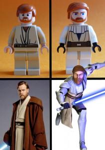 """Sowohl der """"echte"""" Obi-Wan als auch dessen Minifig-Repräsentation (links) sehen besser aus als die Cartoon-Animation und die Minifig mit den Glubschaugen"""