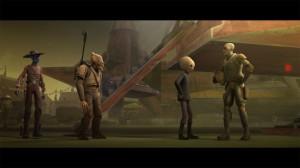 Cad Bane (ganz links) und Rako Hardeen ohne seinen Helm (ganz rechts) stehen rum (Quelle: Starwars.com)