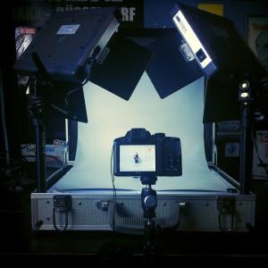 Kameraposition vor dem Fotokoffer, zu sehen ist auch die Hohlkehle, auf der der Löwenritter steht. Kamera hier: Nikon Coolpix P510
